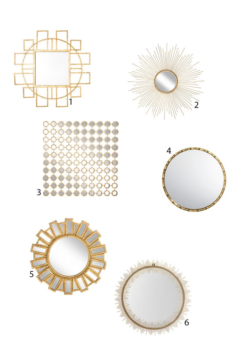 Gold accent mirrors