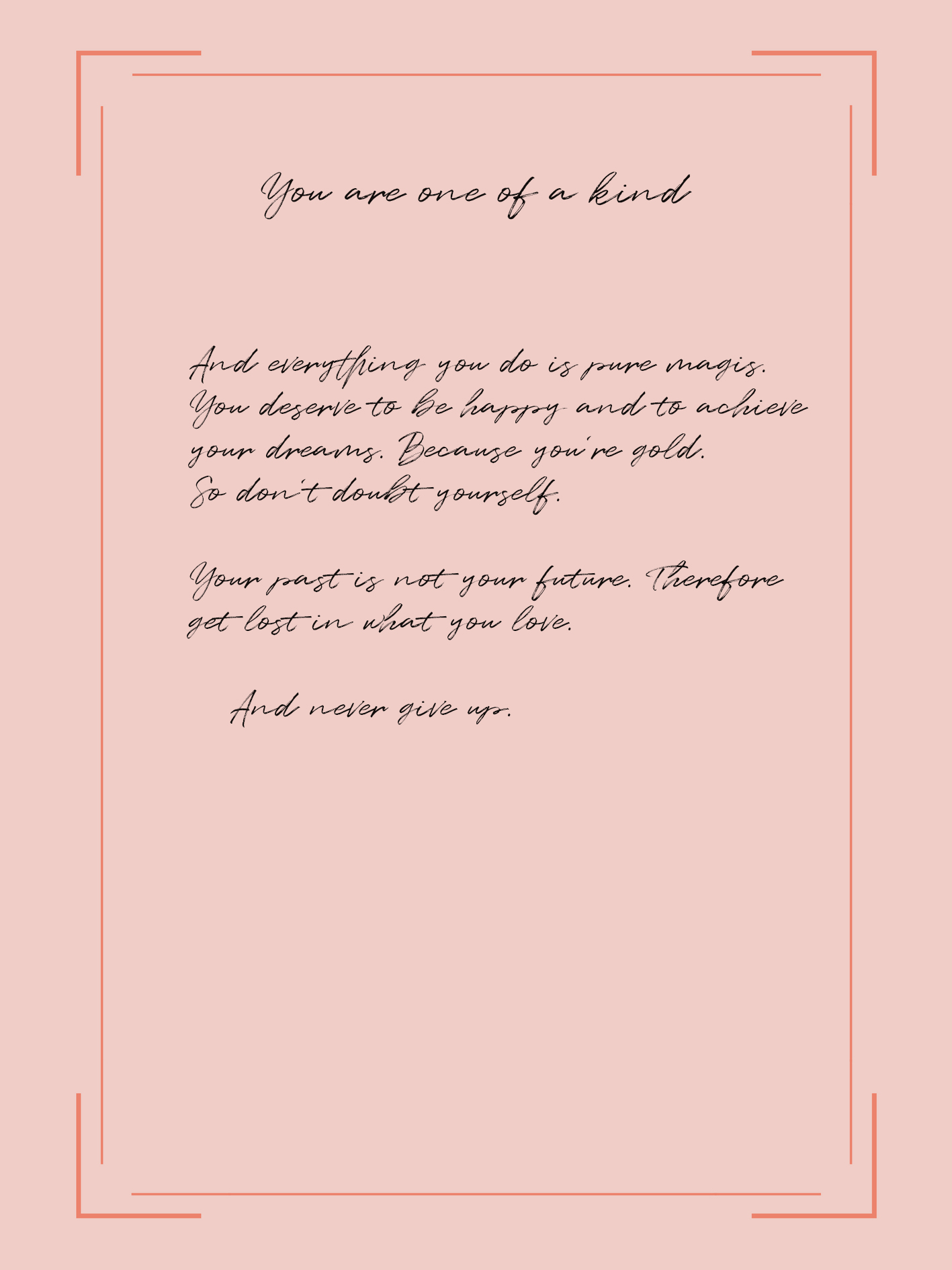 Self-love note – never give up